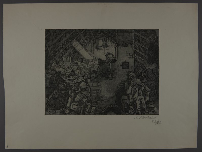 2003.202.7 front Leo Haas aquatint of an attic overcrowded with cold, exhausted people
