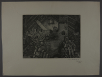 2003.202.7 front Leo Haas aquatint of an attic overcrowded with cold, exhausted people  Click to enlarge