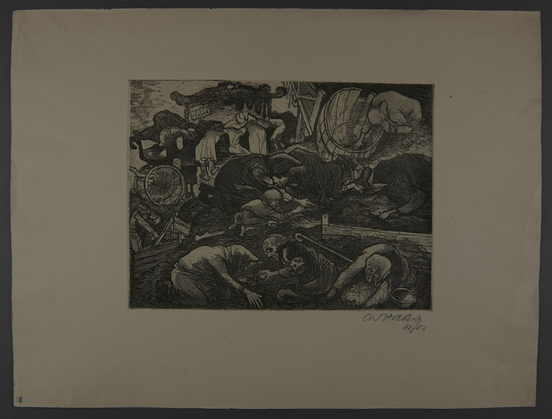 2003.202.8 front Leo Haas aquatint of frail people searching in the dirt