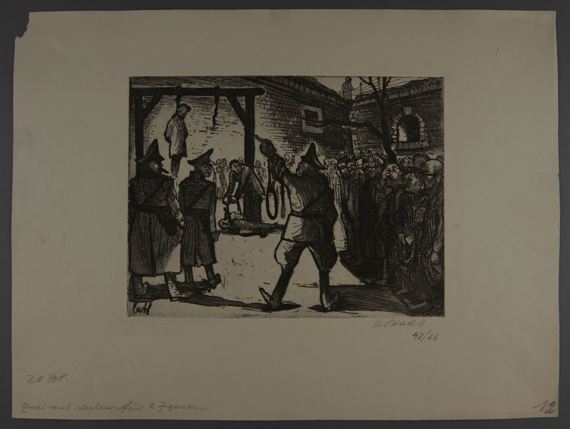 2003.202.9 front Leo Haas aquatint of prisoners assembled to view a hanging
