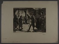 2003.202.9 front Leo Haas aquatint of prisoners assembled to view a hanging  Click to enlarge