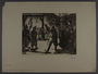 Leo Haas aquatint of prisoners assembled to view a hanging