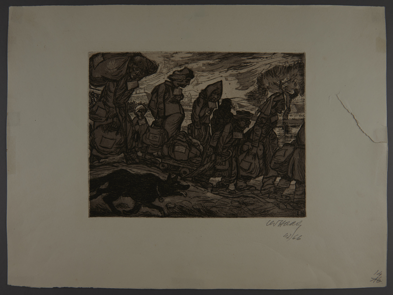 2003.202.11 front Leo Haas aquatint of an SS dog following a line of weary prisoners