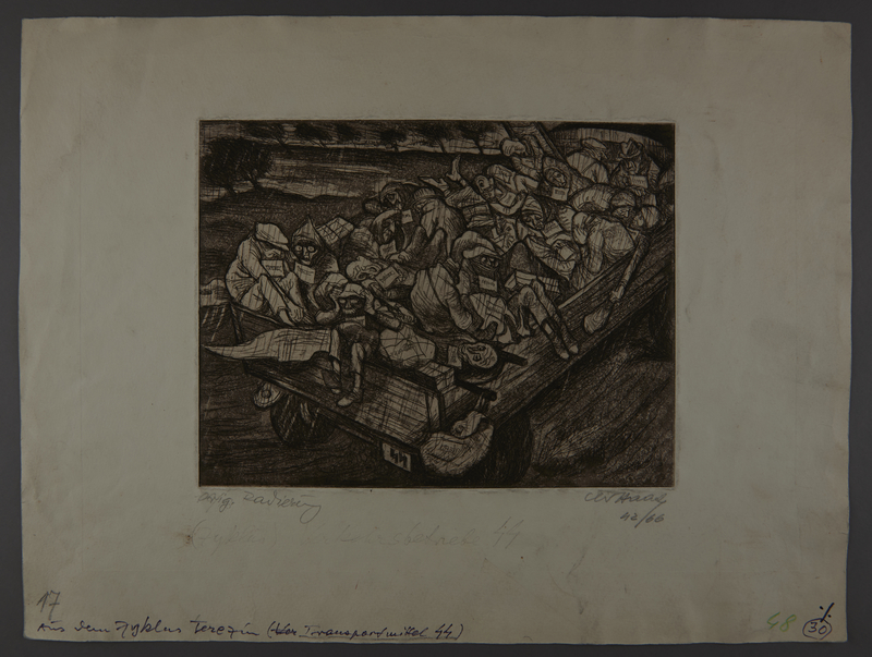 2003.202.12 front Leo Haas aquatint of a truck overloaded with the sick, dying, and dead