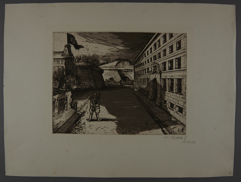 2003.202.14 front Leo Haas aquatint etching of a soldier watching marching people