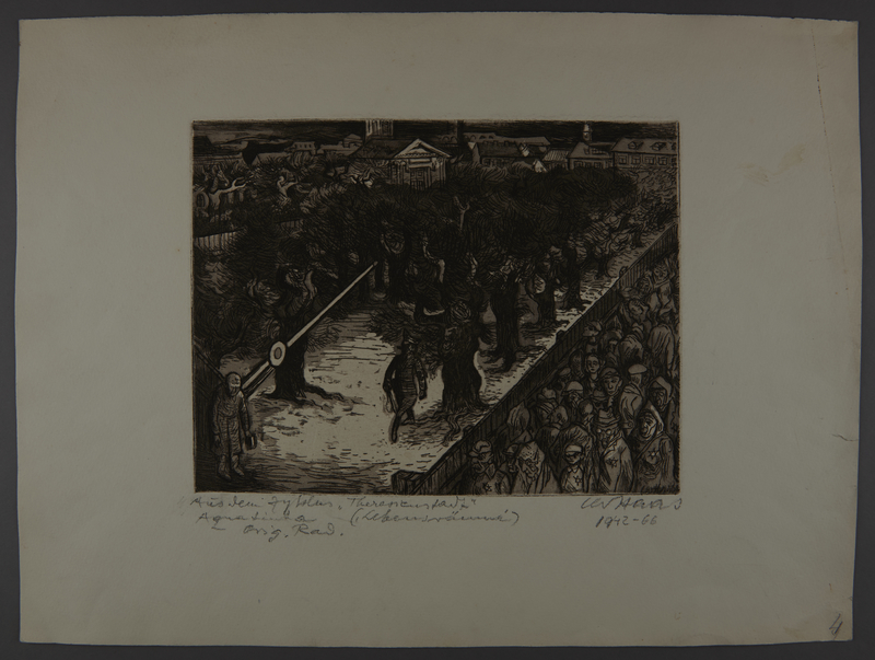 2003.202.15 front Leo Haas aquatint of new arrivals at the ghetto gate