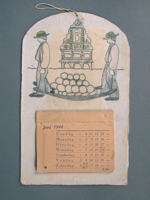 2003.155.7 front Handmade 1944 calendar made by a hidden Dutch Jewish girl for her brother