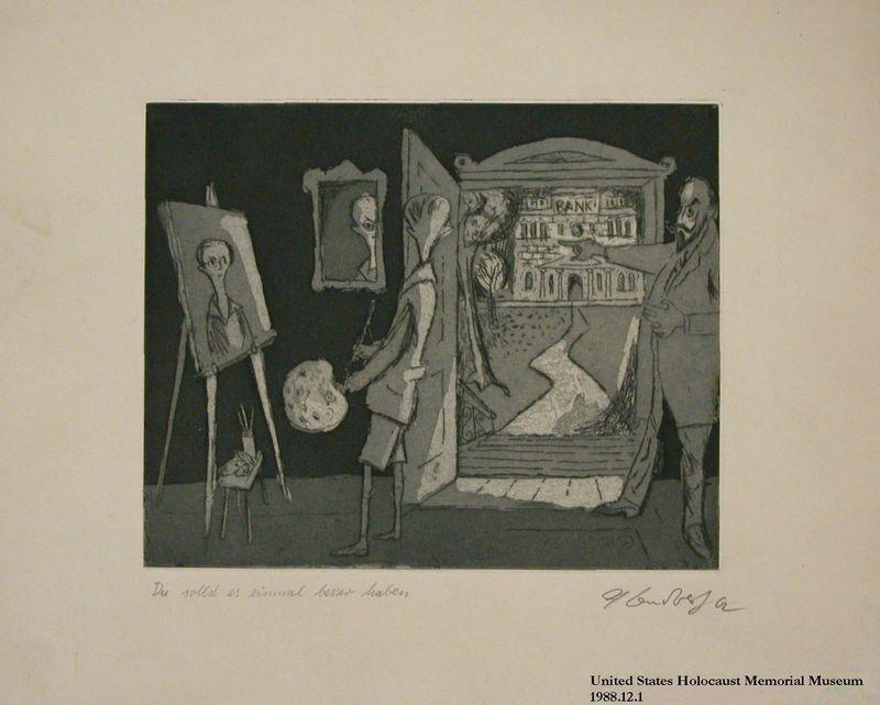 1988.12.1 front Plate 1, Herbert Sandberg, Der Weg: young painter being told to pursue money not art