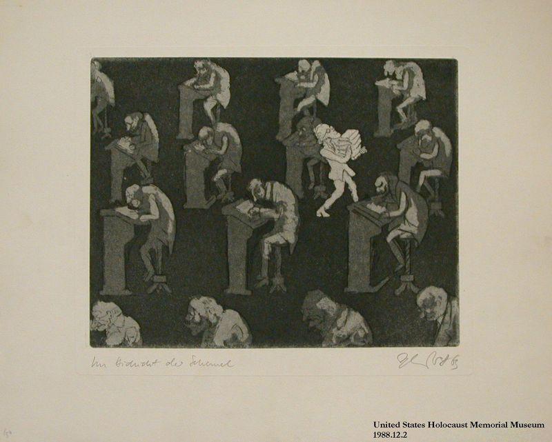 1988.12.2 front Plate 2, Herbert Sandberg, Der Weg: youth carryies books past men hunched over desks