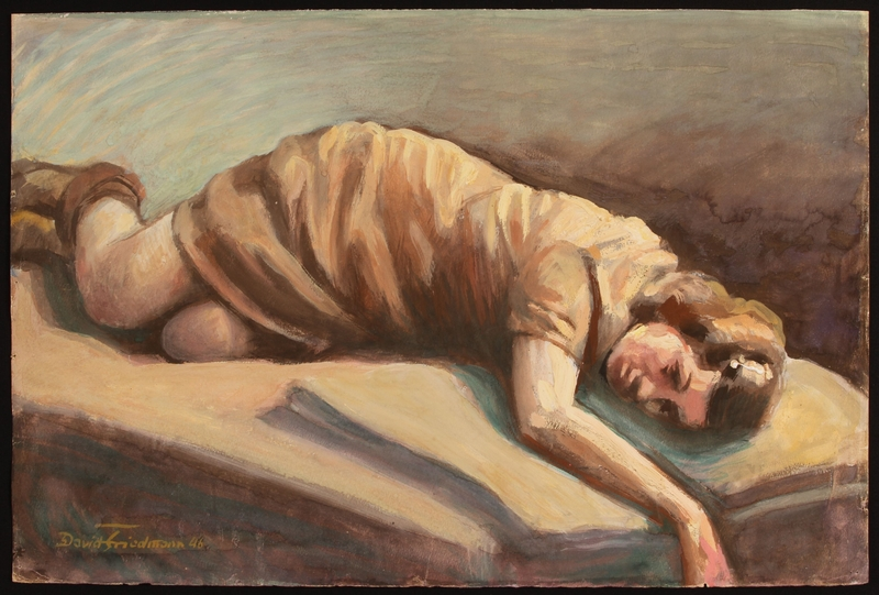 1987.114.4 front Autobiographical painting by David Friedmann of a woman in a brown dress resting on a bed