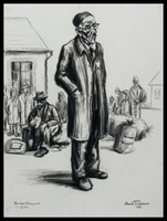 1987.121.1 front Charcoal drawing by David Friedman of a Jewish man from a suburb of Prague waiting for deportation  Click to enlarge