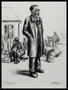 Charcoal drawing by David Friedman of a Jewish man from a suburb of Prague waiting for deportation