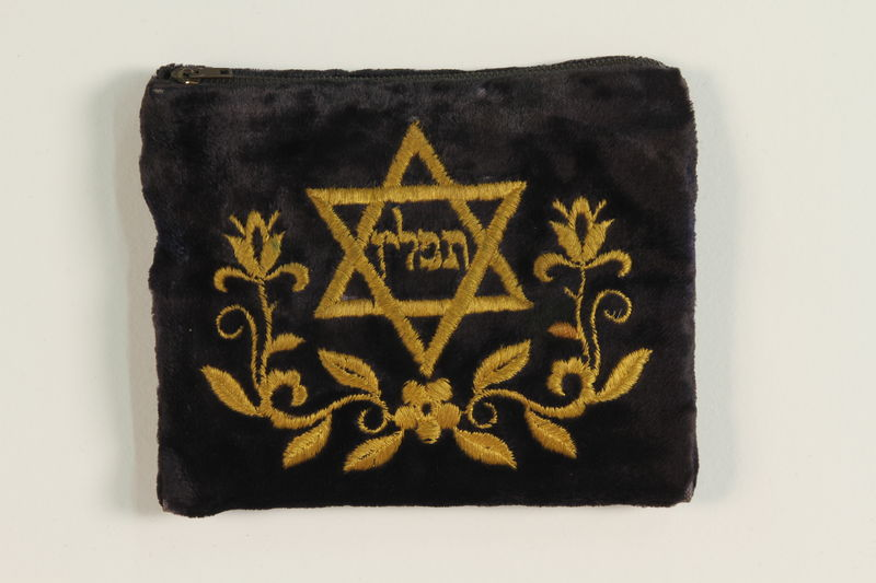 1988.118.1_a front Blue velvet tefillin pouch found in a shallow grave by a Jewish American soldier