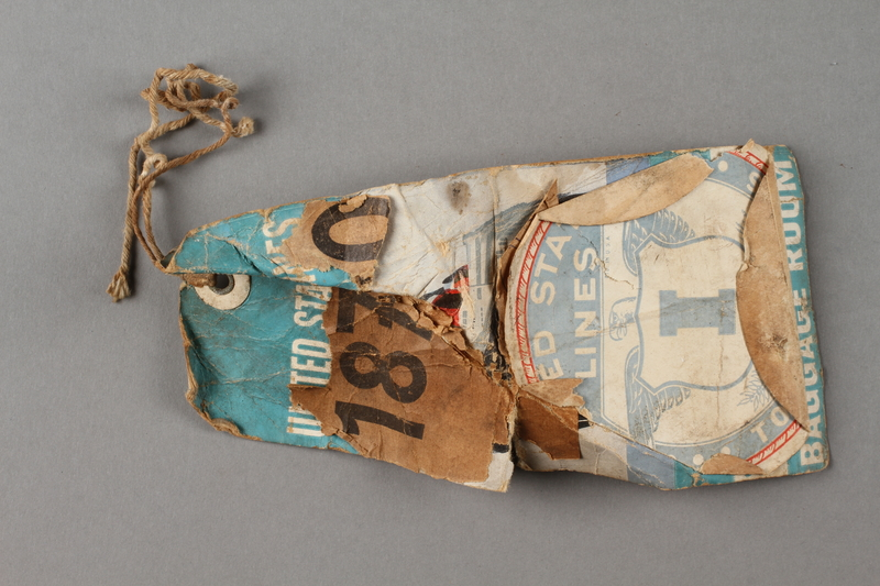 2003.242.2 b side b Brown burlap covered trunk used postwar by a young German Jewish refugee