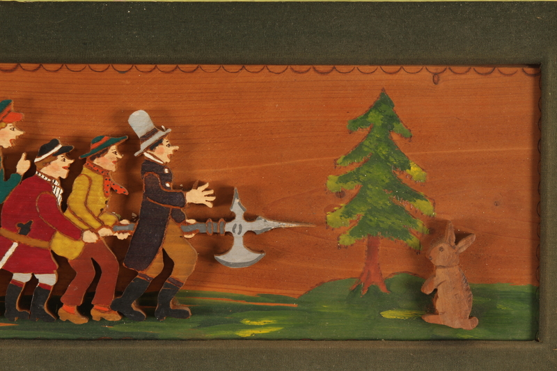 1989.58.147 front Handcrafted wooden picture given to a Yiddish entertainer at a displaced persons camp
