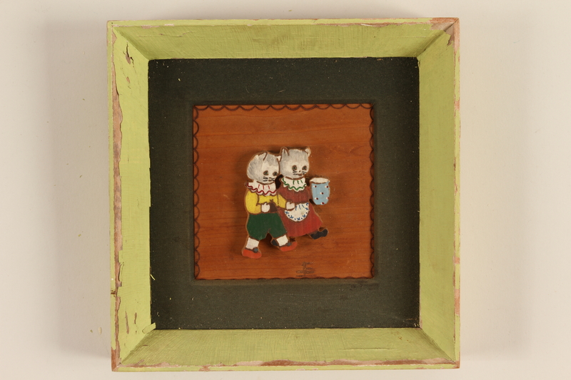 1989.58.149 front Handcrafted wooden picture given to a Yiddish entertainer at a displaced persons camp