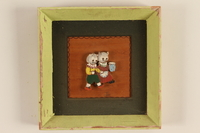 1989.58.149 front Handcrafted wooden picture given to a Yiddish entertainer at a displaced persons camp  Click to enlarge