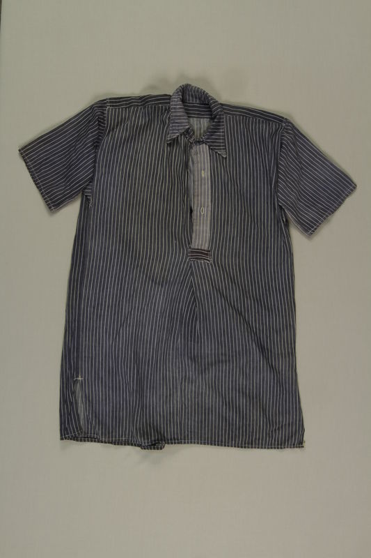 2003.294.2 front White striped blue shirt worn by Polish Jewish slave laborer