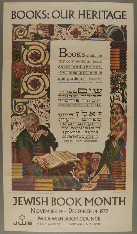 2003.341.1 front Poster advertising Jewish Book Month based on a print by Arthur Szyk