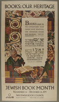 2003.341.1 front Poster advertising Jewish Book Month based on a print by Arthur Szyk  Click to enlarge