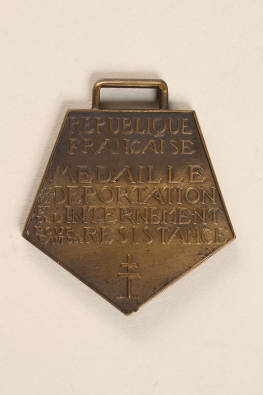 2003.351.2 back Medal of Deportation and Resistance for Acts of Resistance awarded to a French doctor