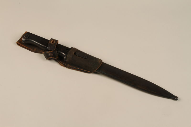 1989.297.1_a-b closed Knife bayonet owned by a Danish resistance member