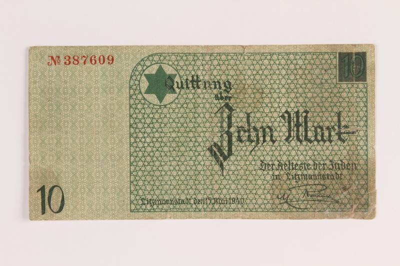 1987.23.1 front Łódź (Litzmannstadt) ghetto scrip, 10 mark note
