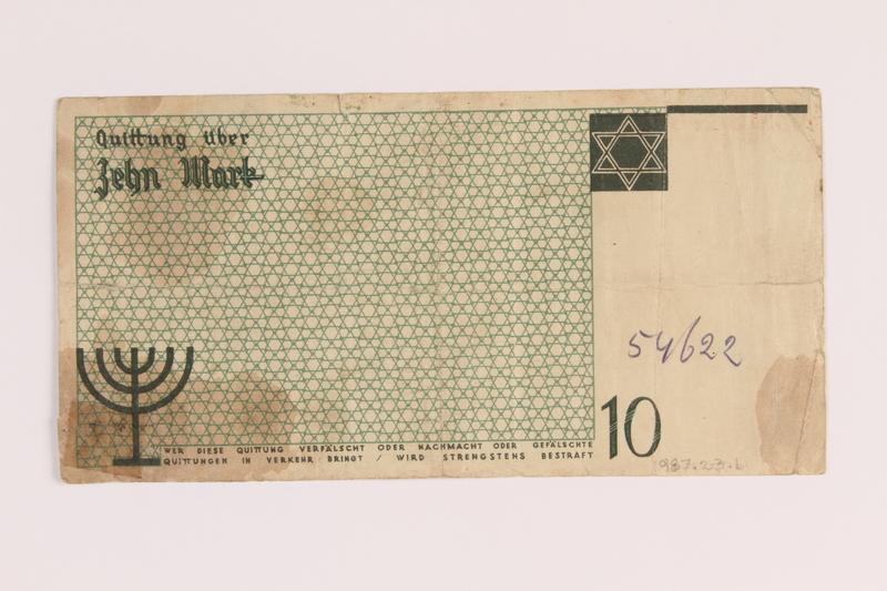 1987.23.1 back Łódź (Litzmannstadt) ghetto scrip, 10 mark note