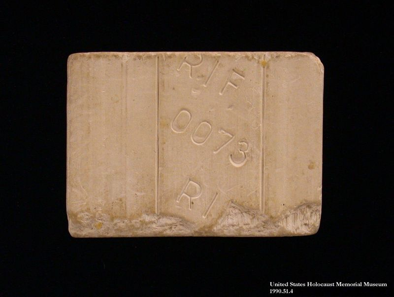 1990.51.4 front Soap used by a Polish Jewish concentration camp inmate