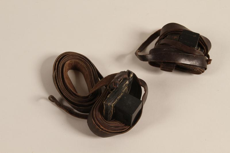 2003.418.2 a-b front Tefillin pair kept through the war by a Jewish Polish man