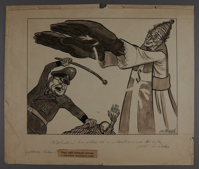 2003.202.16 front Two sided drawing by Leo Haas: Pope Pius XII blessing Himmler; Camp inmates at roll call