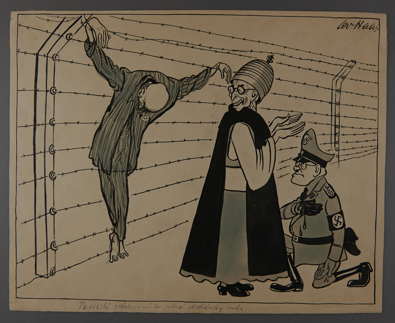 2003.202.17 front Leo Haas illustration of the Pope blessing Himmler for crucifying an inmate on barbed wire