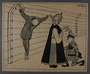 Leo Haas illustration of the Pope blessing Himmler for crucifying an inmate on barbed wire