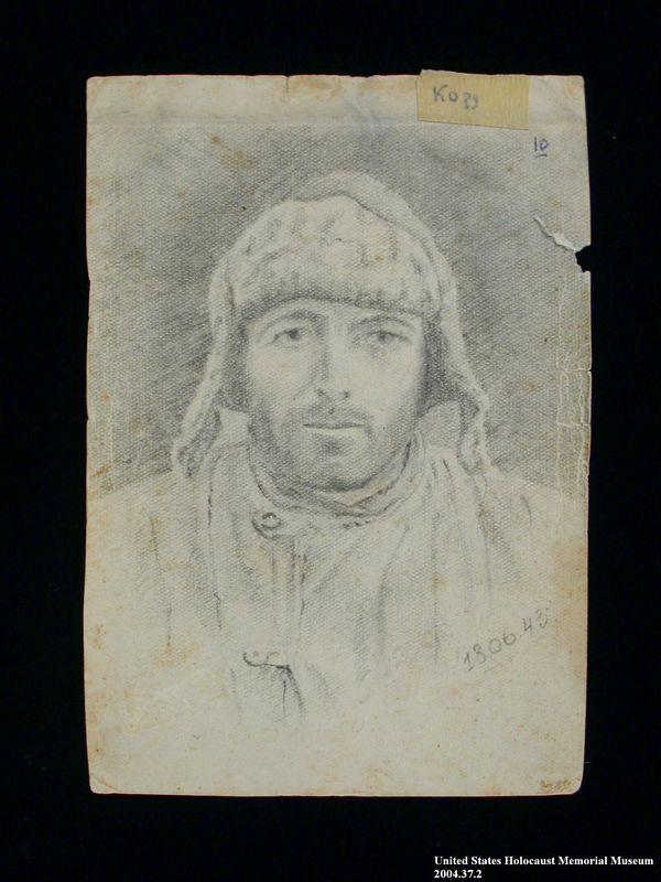 2004.37.2 front Photostat of a portrait of a Soviet Jewish POW after his escape