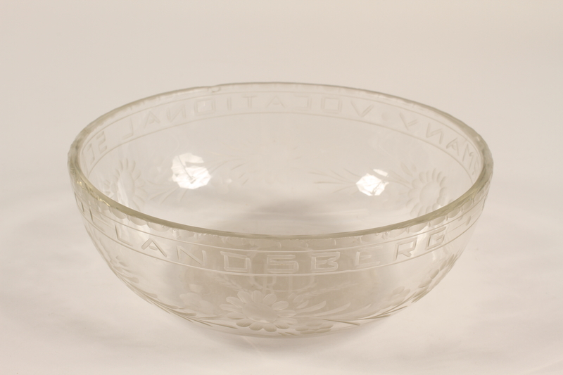 1988.72.3 front Glass bowl etched ORT presented to Director, ORT schools, DP camps