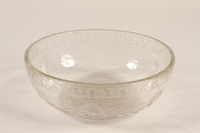 1988.72.3 front Glass bowl etched ORT presented to Director, ORT schools, DP camps  Click to enlarge