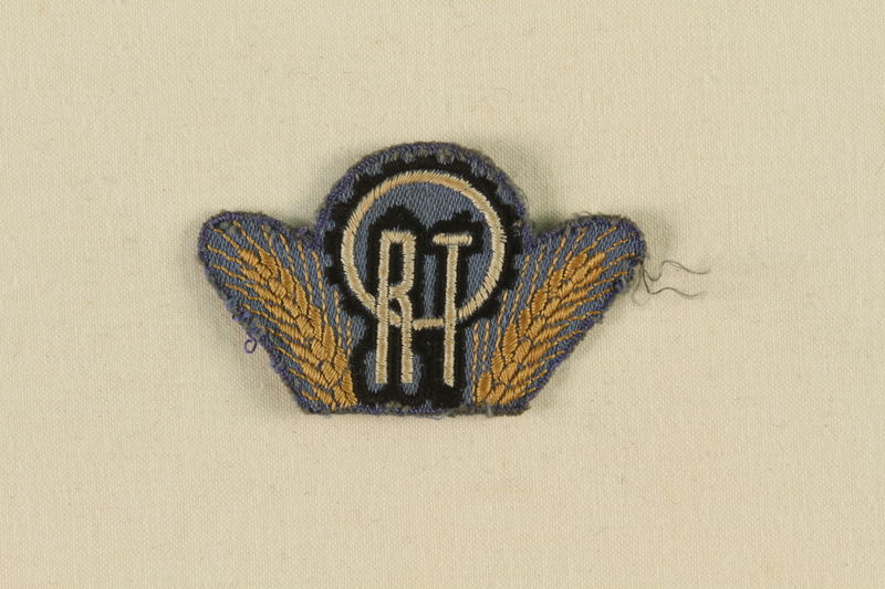 1988.72.7 front ORT shoulder badge owned by the Director, ORT vocational schools, DP camps