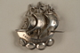 Silver brooch of a 3 masted ship given to Director, ORT schools, DP camps