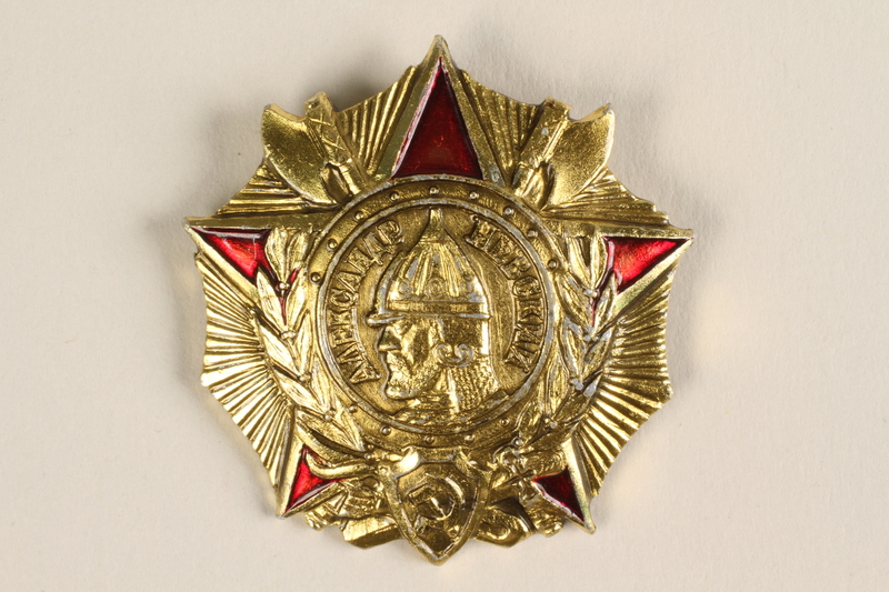 2003.449.2 front Order of Alexander Nevsky given to a World War II veteran for service in the Soviet Army