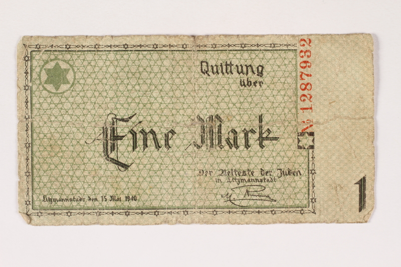 1999.300.3 front Łódź (Litzmannstadt) ghetto scrip, 1 mark note