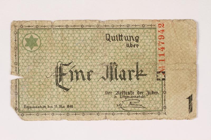 1999.300.4 front Lodz (Litzmannstadt) ghetto scrip, 1 mark note