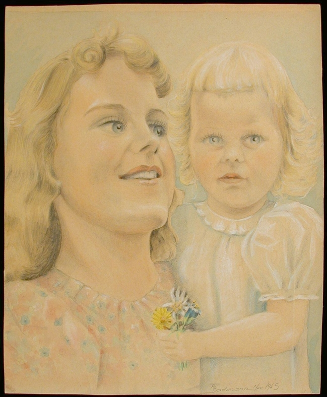 2004.126.2 front Colored pencil portrait of the wife and child of a US soldier created for him by a POW