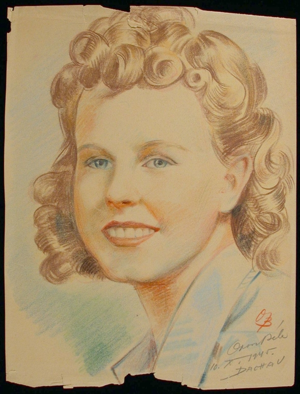 2004.126.3 front Colored pencil portrait of the wife of a US soldier created for him by a Hungarian POW