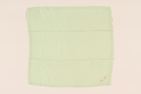2003.454.2 front Green handkerchief with pink KS monogram carried by a Kindertransport refugee  Click to enlarge