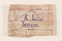 2000.587.3 front Armband from Terezin ghetto-labor camp  Click to enlarge