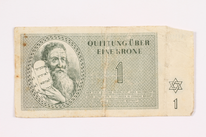 2000.587.5 front Theresienstadt ghetto-labor camp scrip, 1 krone note