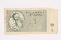 2000.587.5 front Theresienstadt ghetto-labor camp scrip, 1 krone note  Click to enlarge