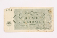 2000.587.5 back Theresienstadt ghetto-labor camp scrip, 1 krone note  Click to enlarge