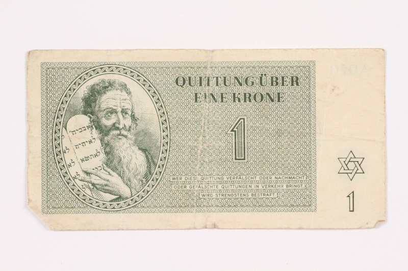 2000.587.6 front Theresienstadt ghetto-labor camp scrip, 1 krone note