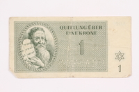 2000.587.6 front Theresienstadt ghetto-labor camp scrip, 1 krone note  Click to enlarge